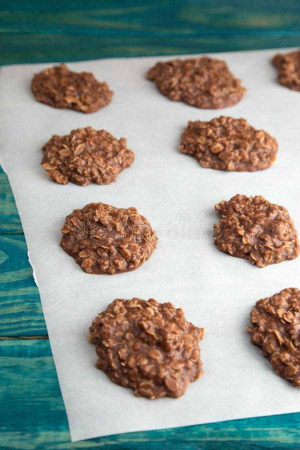 No Bake Chocolate Peanut Butter and Oat Cookies on Wooden Table. No Bake Chocolate Peanut Butter and Oat Cookies stock photography