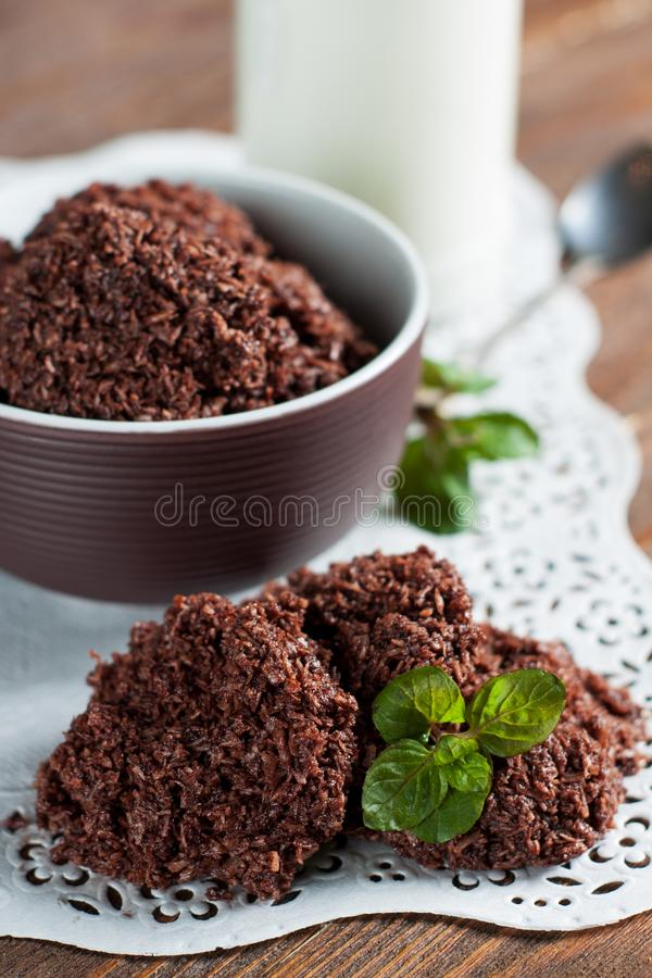 No Bake Cookies. From nut butter and desiccated coconut laced with cocoa royalty free stock photos