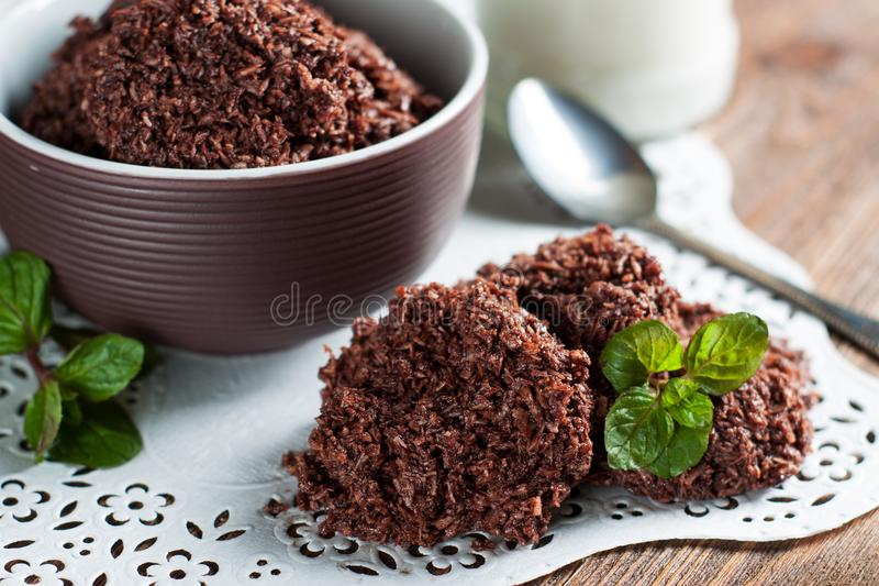No Bake Cookies. From nut butter and desiccated coconut laced with cocoa royalty free stock image