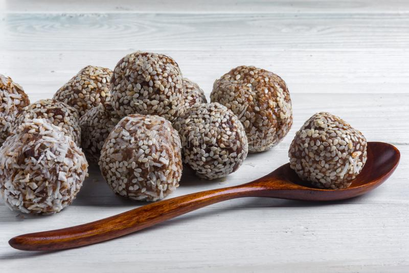 No Bake Energy Balls on white background royalty free stock photos
