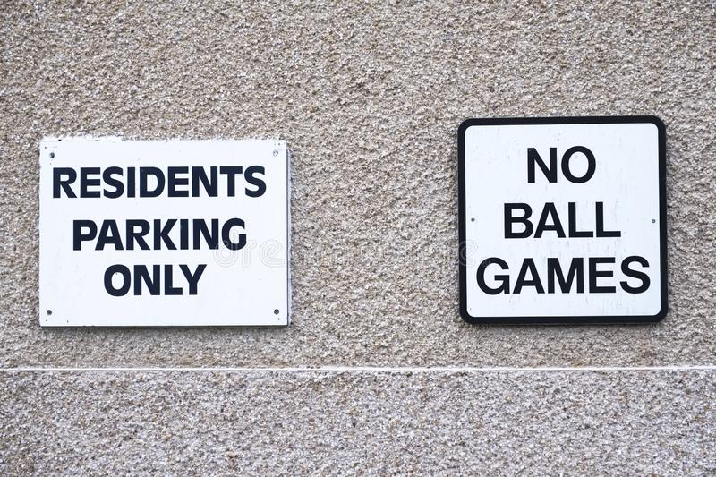 No ball games sign at residential council houses and flats. Uk royalty free stock photo