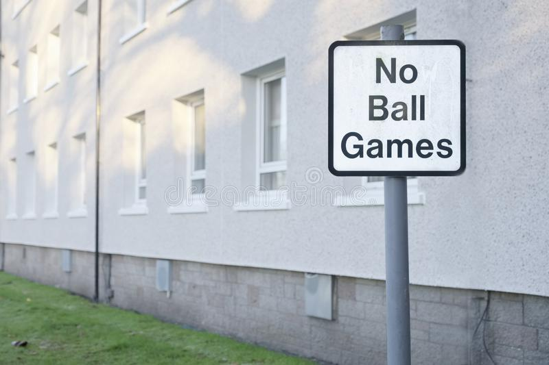 No ball games sign at residential houses and flats. Uk royalty free stock photo