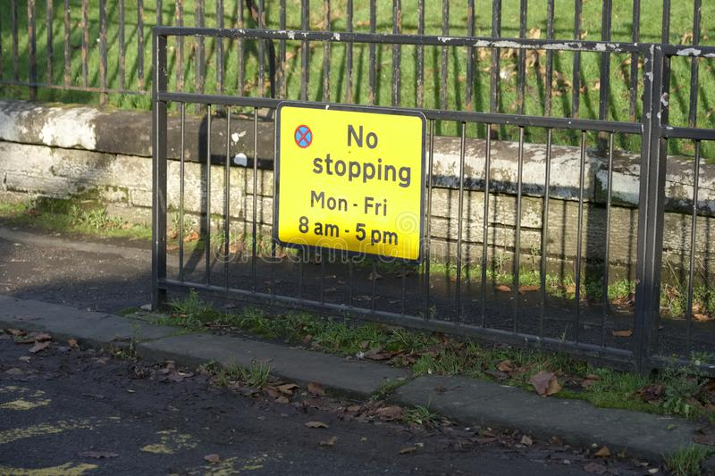 No ball games sign at residential houses and flats. Uk stock image