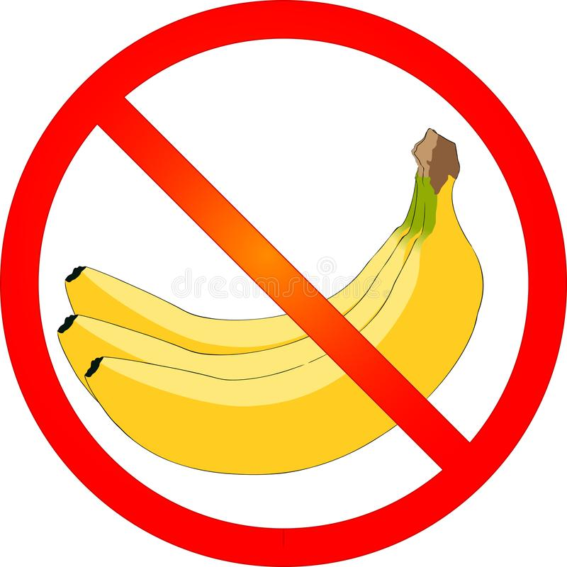 No bananas here vector illustration. With prohibition sign stock illustration