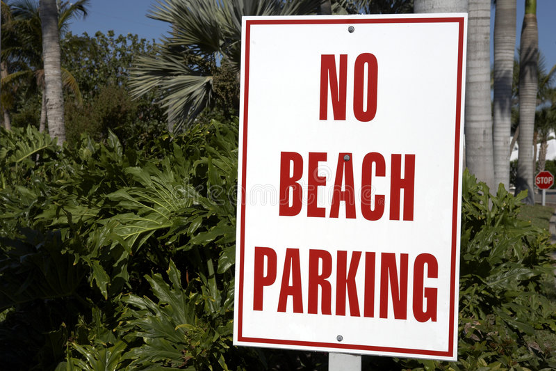 No beach parking sign royalty free stock photos