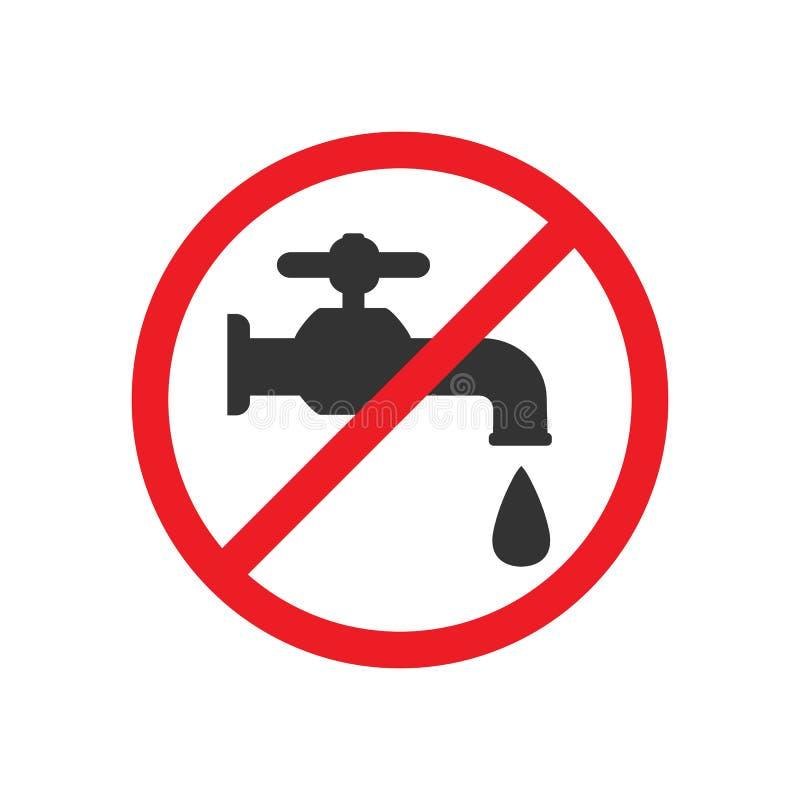 No beba el agua Icono del grifo, muestra del golpecito de agua Ilustración del vector Diseño plano libre illustration