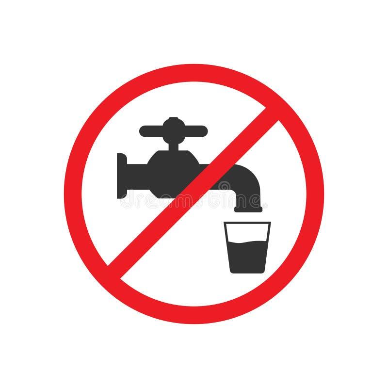 No beba el agua Icono del grifo, muestra del golpecito de agua Ilustración del vector Diseño plano stock de ilustración