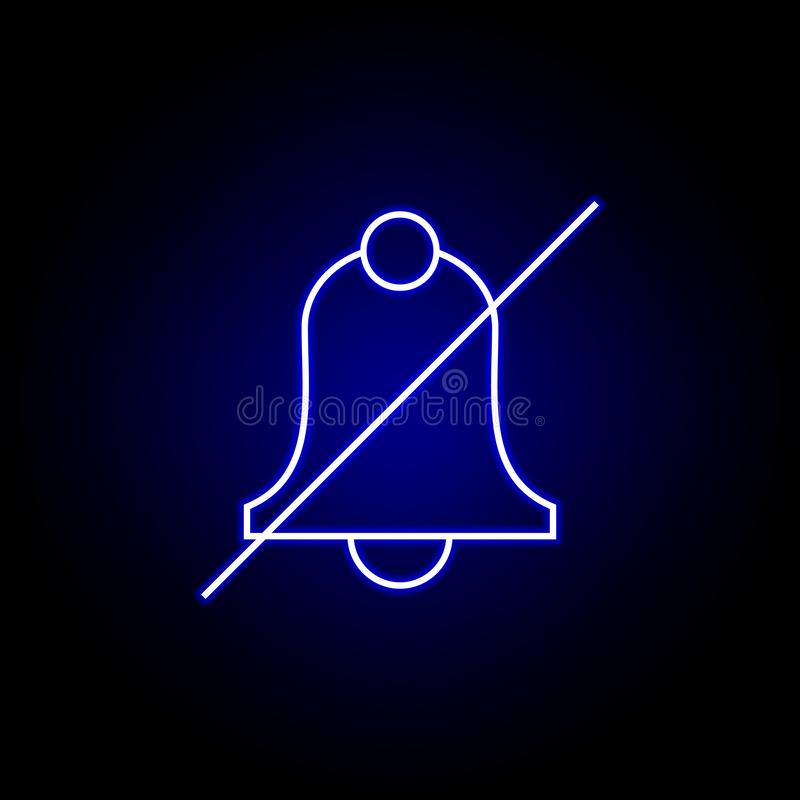 no bell icon in blue neon style.. Elements of time illustration icon. Signs, symbols can be used for web, logo, mobile app, UI, UX stock illustration