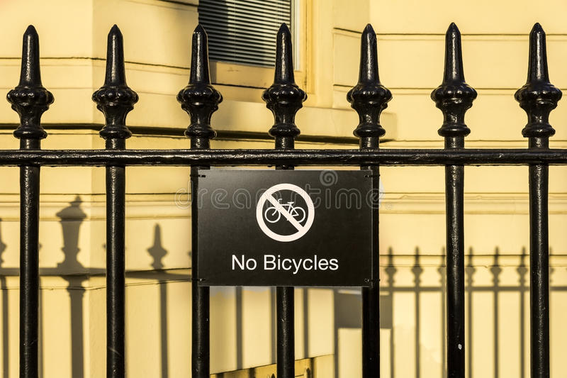 Download No Bicycles sign stock photo. Image of text, building - 33286018