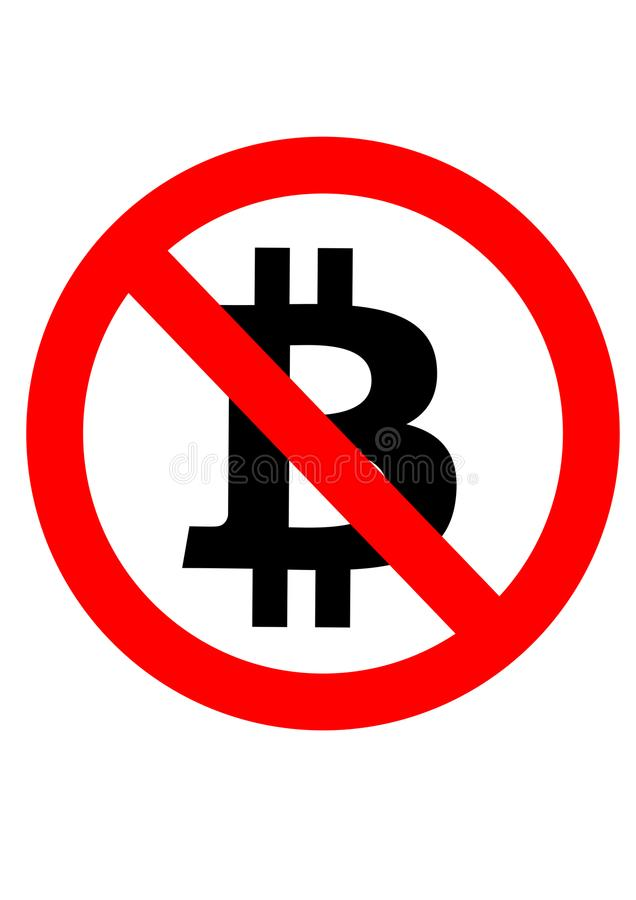 `No Bitcoin` Sign royalty free stock photo