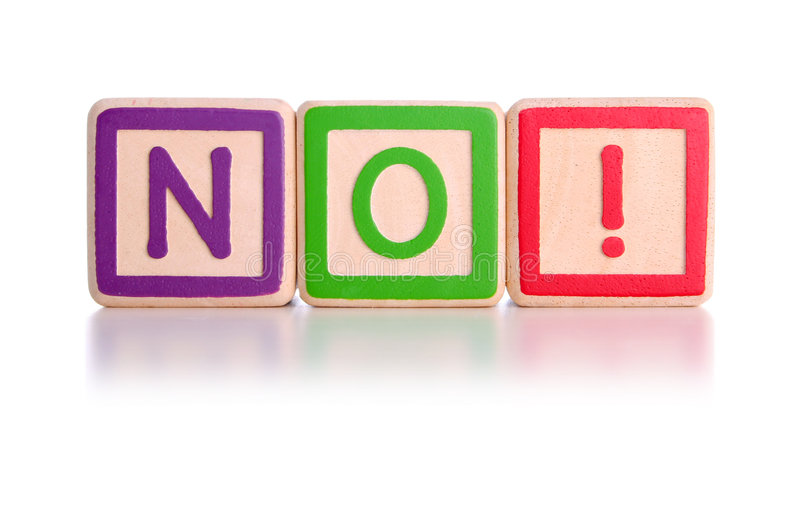 NO! blocks. No spelt with children's toy blocks with clipping path stock photo