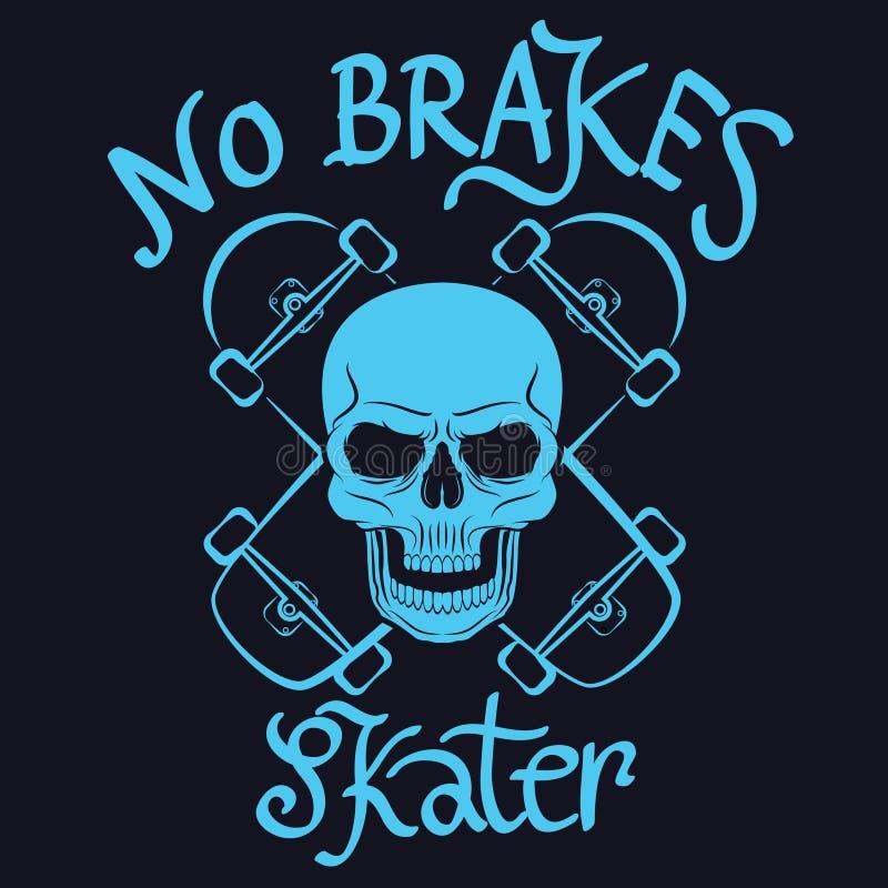 No brakes skater graphic for t-shirt,tee design,poster,emblem,ve royalty free illustration