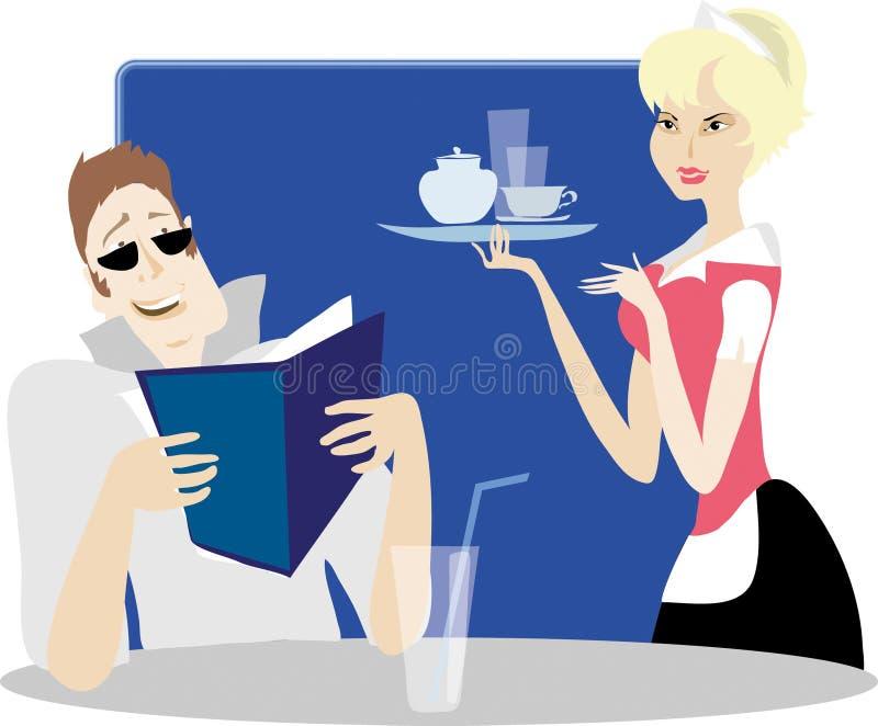 Download No café ilustração do vetor. Ilustração de mulher, agradável - 541976