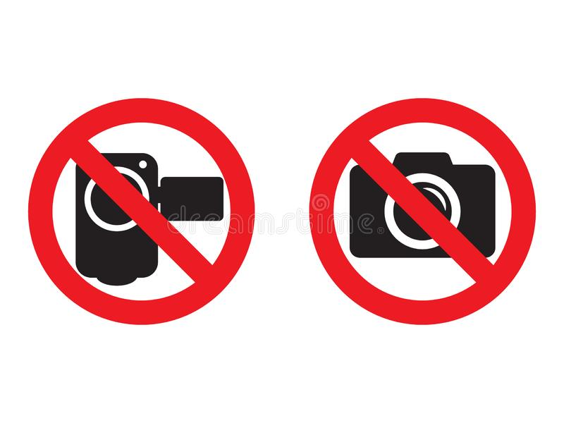 No camera and video red prohibition signs. Taking pictures and recording not allowed. No photographing sign. No video camera sig. N. Vector illustration on white vector illustration