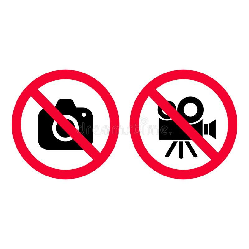 No camera and video red prohibition signs. Taking pictures and recording not allowed. No photographing sign. No video camera royalty free illustration