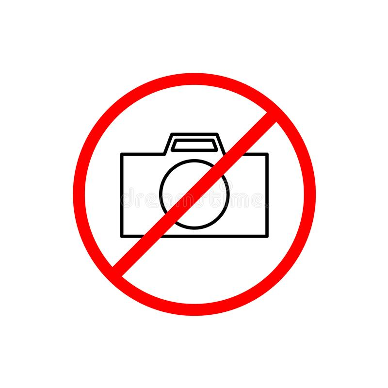 NO CAMERAS ALLOWED sign. Flat icon in red circle royalty free illustration