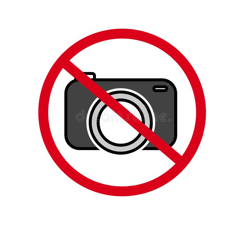 No cameras allowed sign. Red prohibition no camera sign. No taking pictures, no photographs sign. Information, forbid vector stock illustration