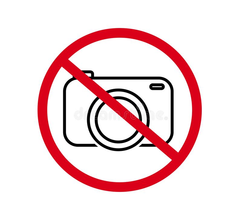 No cameras allowed sign. Red prohibition no camera sign. No taking pictures, no photographs sign. Information, forbid vector. No cameras allowed sign. Red stock illustration