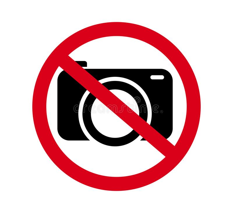 No cameras allowed sign. Red prohibition no camera sign. No taking pictures, no photographs sign. Information, forbid vector. No cameras allowed sign. Red royalty free illustration