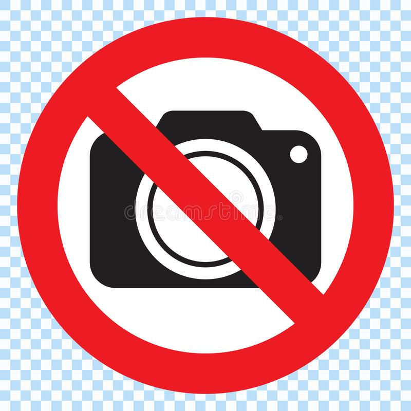 No cameras allowed sign. Red prohibition no camera sign royalty free illustration