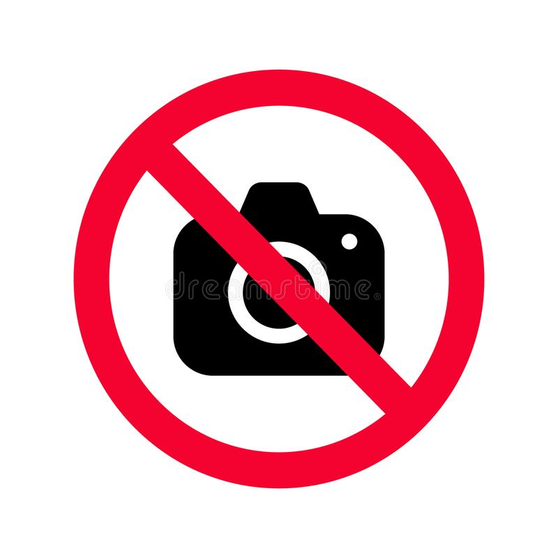 No cameras allowed sign. Red prohibition no camera sign. No taking pictures royalty free illustration
