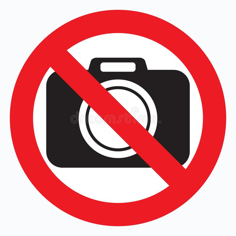 No cameras allowed sign. Red prohibition no camera sign. No taking pictures, no photographs sign. stock illustration