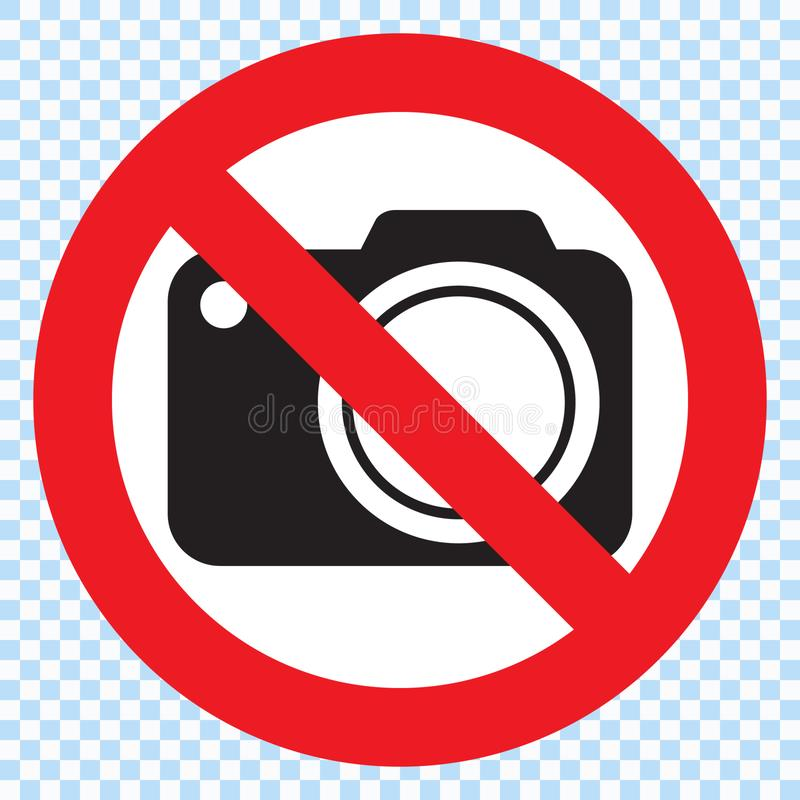 No cameras allowed sign. Red prohibition no camera sign. No taking pictures, no photographs sign. vector illustration