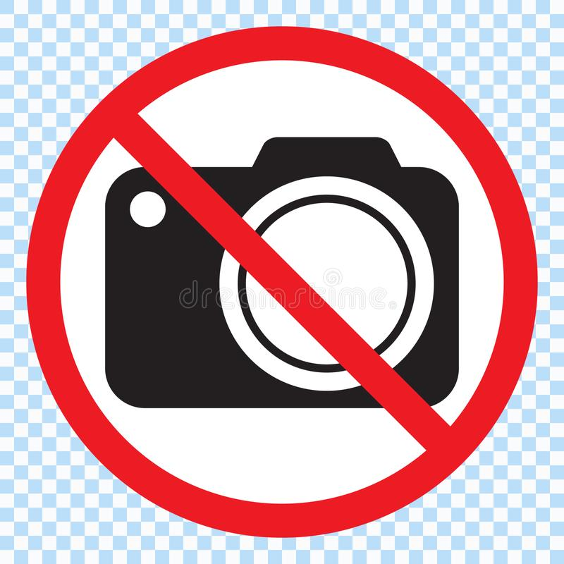 No cameras allowed sign. Red prohibition no camera sign. No taking pictures, no photographs sign. royalty free illustration