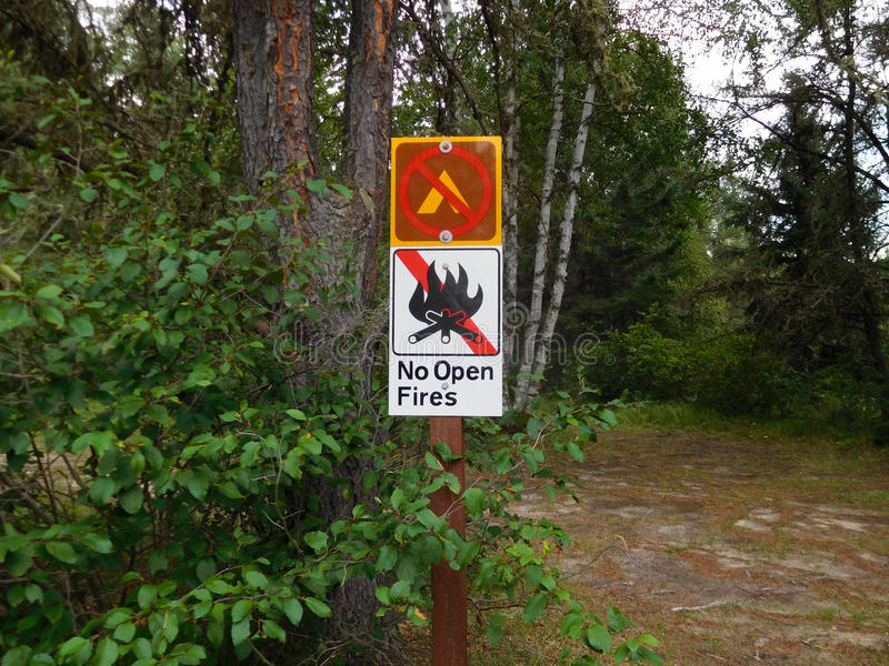 No Camping and Open Fire Sign.  royalty free stock photos
