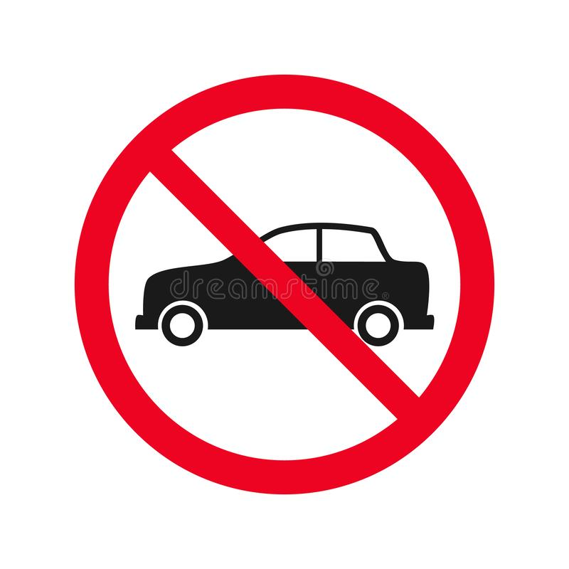No car allowed prohibition vector icon sign Do not drive symbol, no cars entry isolated on white background.illustration.  vector illustration