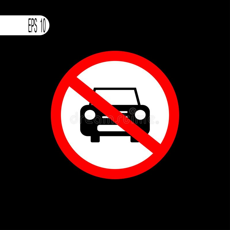 No car sign. Parking prohibited sign ,icon - vector illustration stock illustration