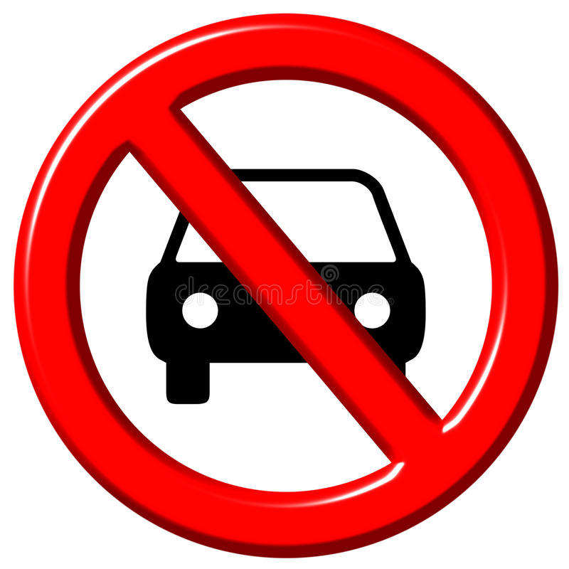 No cars allowed 3d sign vector illustration