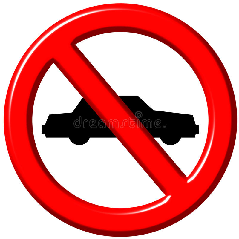 No cars allowed 3d sign royalty free illustration