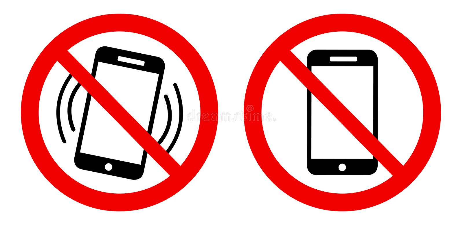 No cell phone - Mobile phone forbidden - mute sign royalty free illustration