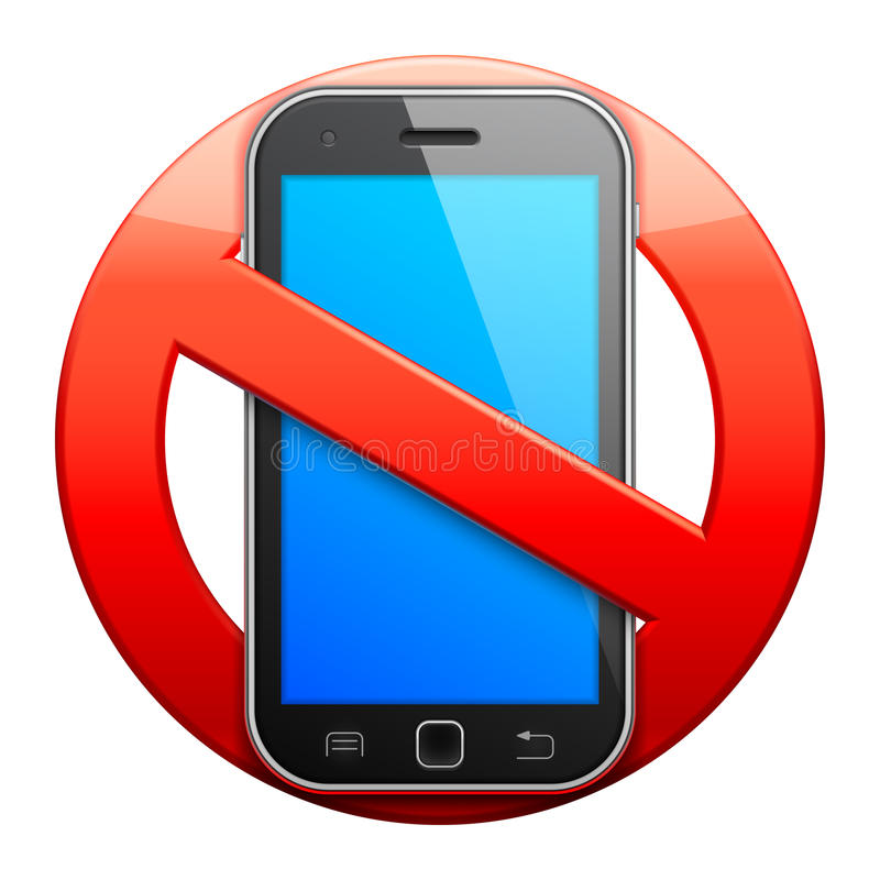 No cell phone sign. No cell phone sign on white background stock illustration