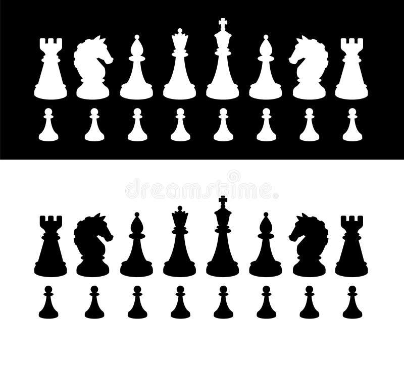 No centro das atenções Silhuetas do vetor A imagem é isolada do fundo Figuras para jogar a xadrez E ilustração do vetor