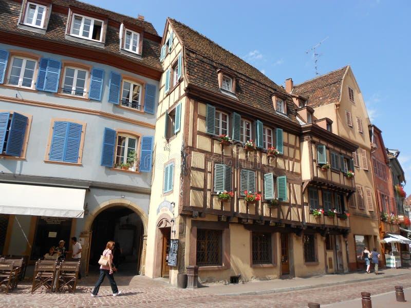 No centro histórico de Colmar bonito, França imagens de stock royalty free
