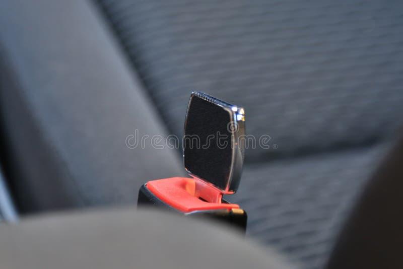 No cerrado Hebilla del cinturón del asiento de carro para arriba Haga no cerrado Peligro imagen de archivo libre de regalías