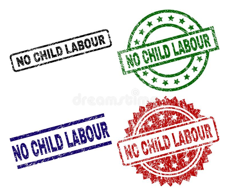 Grunge Textured NO CHILD LABOUR Stamp Seals royalty free illustration