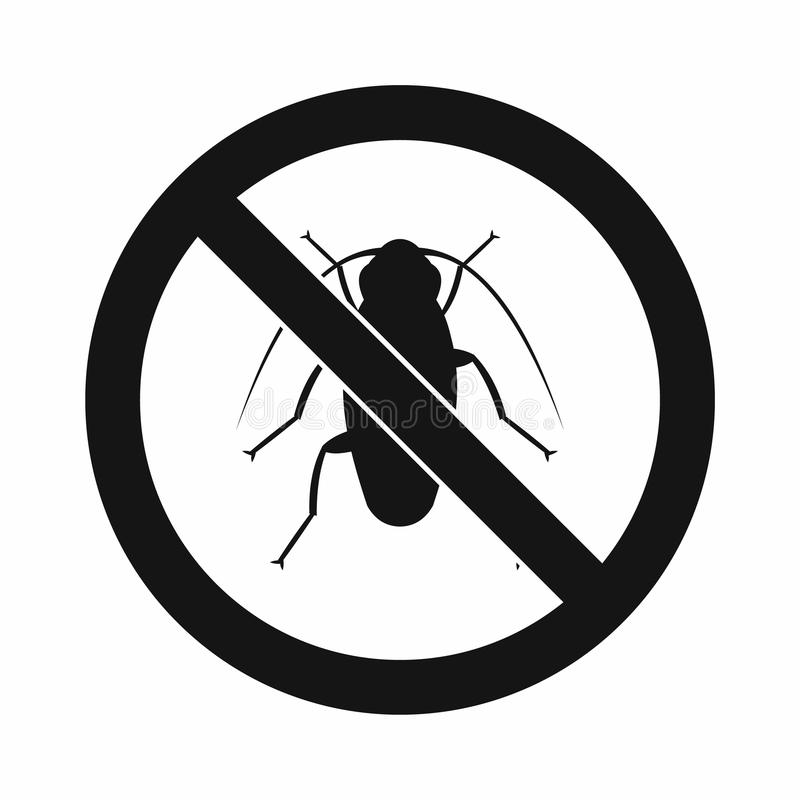 No cockroach sign icon, simple style vector illustration
