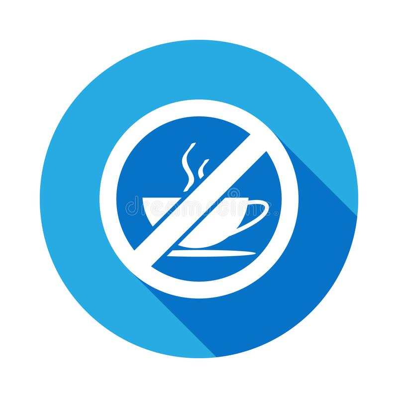 No Coffee cup flat icon with long shadow royalty free illustration