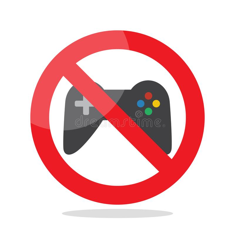 No computer games. Prohibited sign vector illustration vector illustration