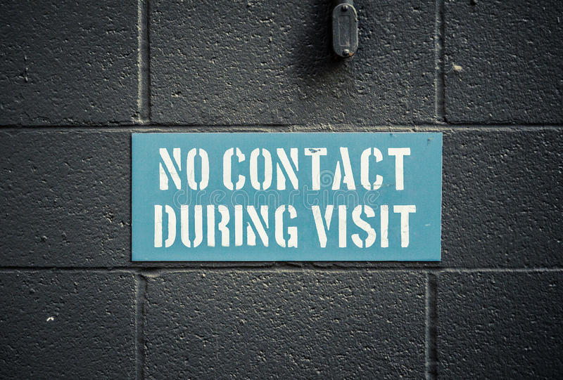 No Contact During Visit. Sign In A Prison Or Jail royalty free stock photo