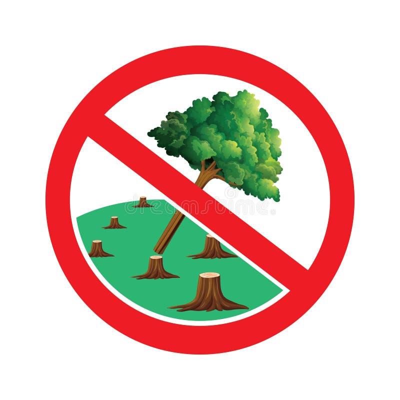 No corte los árboles firman ilustración del vector