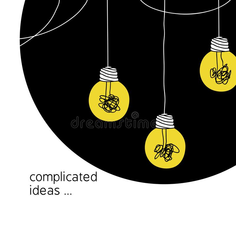 Free No Creativity Complicated Idea Concept Illustration. Simple Line Hanging Light Bulb With Yellow Background And Tangled Filament Stock Images - 141169344