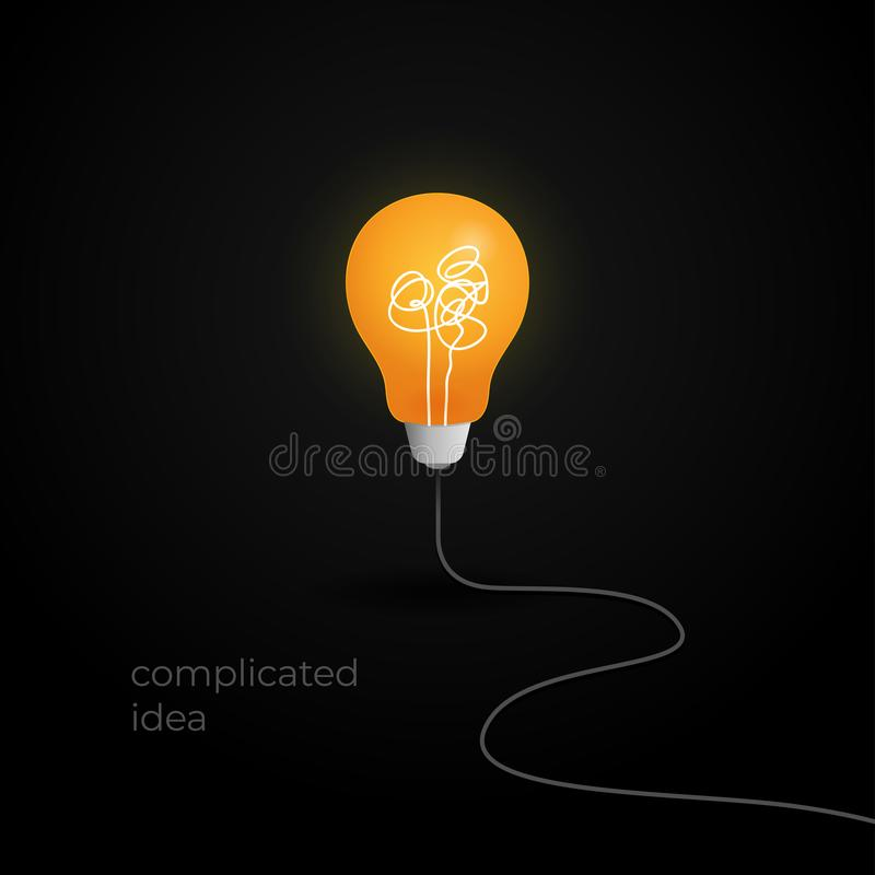 No creativity complicated thinking concept illustration. light bulb with messy filament thread line and wire cable vector royalty free illustration