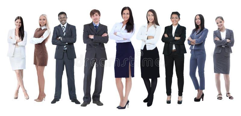 No crescimento completo equipe profissional do negócio isolada no branco imagem de stock royalty free