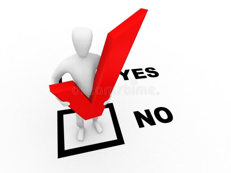 no. de escolha humano da opção 3d ilustração do vetor