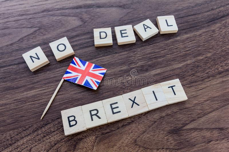 No Deal Brexit with Union Jack Flag royalty free stock photos