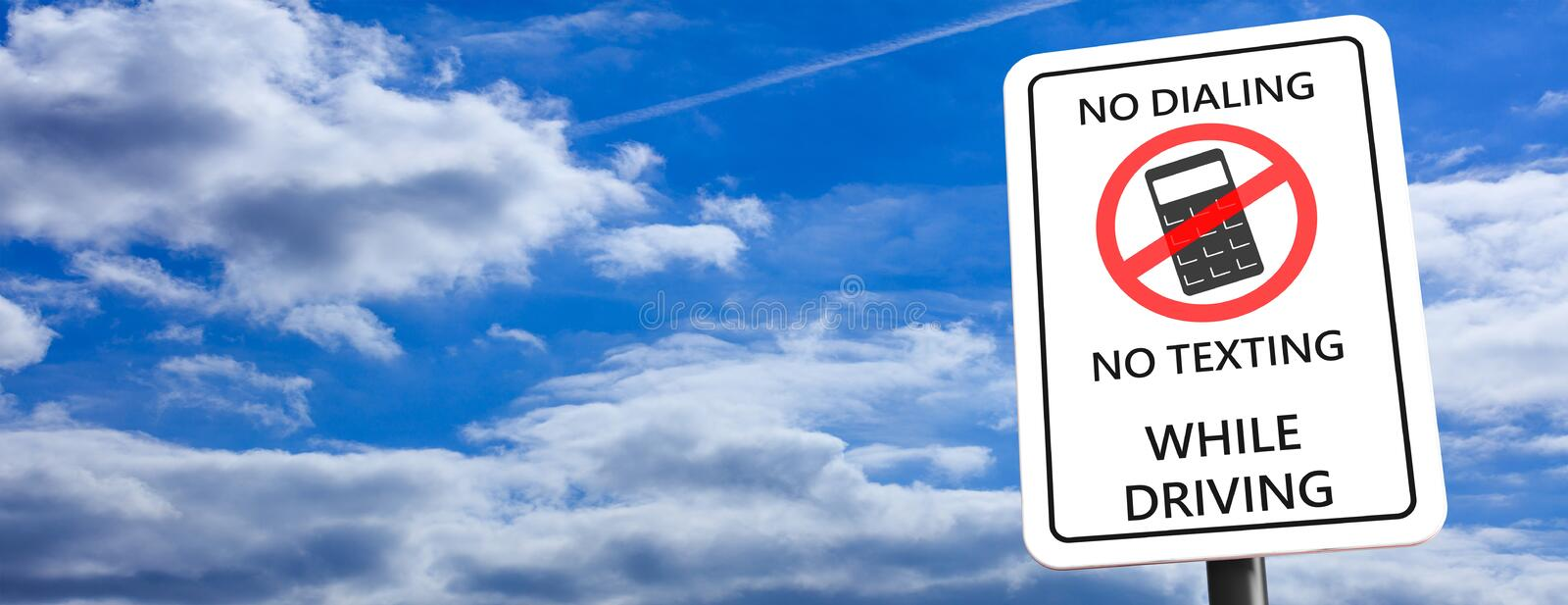 No dialing, no texting while driving, sign on blue cloudy sky background, space for text, banner. 3d illustration royalty free illustration
